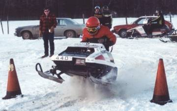 Jim Marston on his 1976 Sno-Twister 440 Liquid