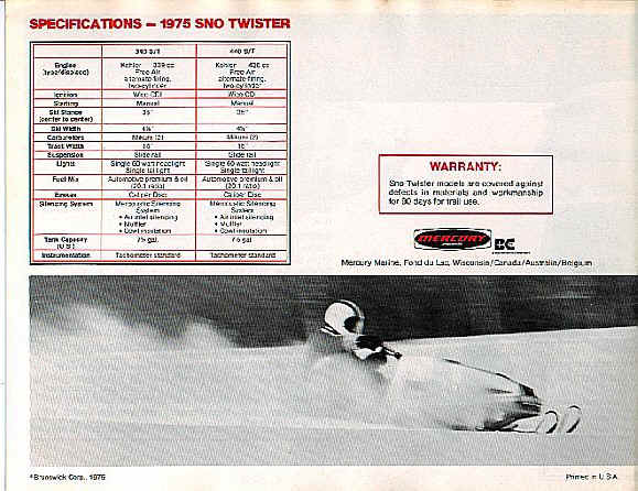1975 Sno-Twister Brochure Page 4
